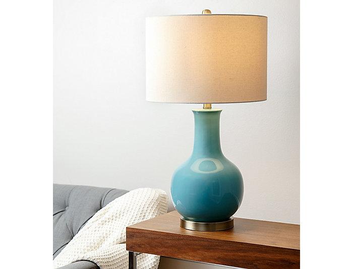 Gourd Blue Ceramic Table Lamp, , large