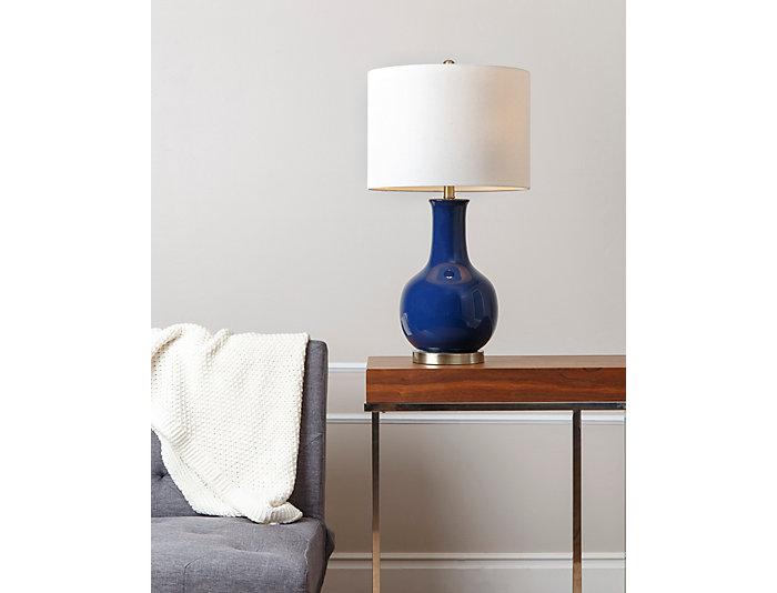 Gourd Navy Ceramic Table Lamp, , large