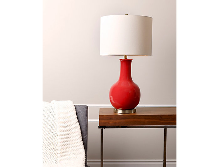 Gourd Red Ceramic Table Lamp, , large
