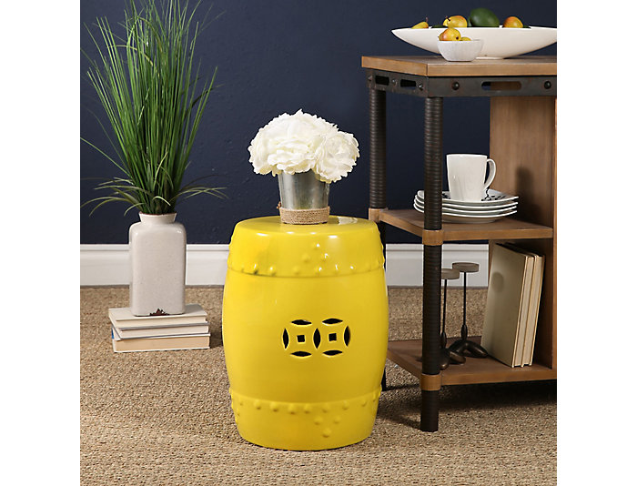 Kimsey Yellow Garden Stool Large