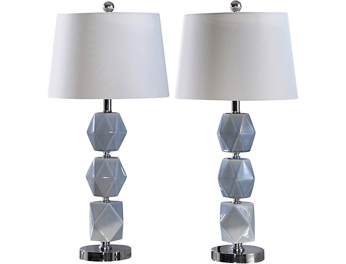 Lennox Grey Table Lamp Set 2 Art Van Home