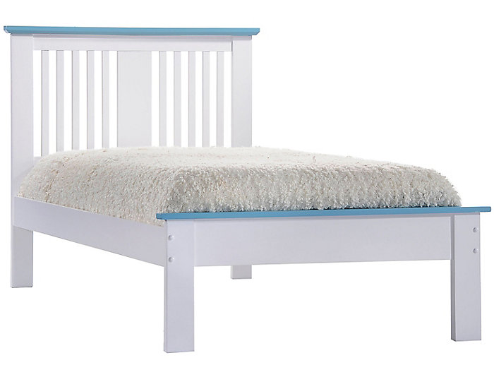Brooklet White & Blue Twin Bed, , large