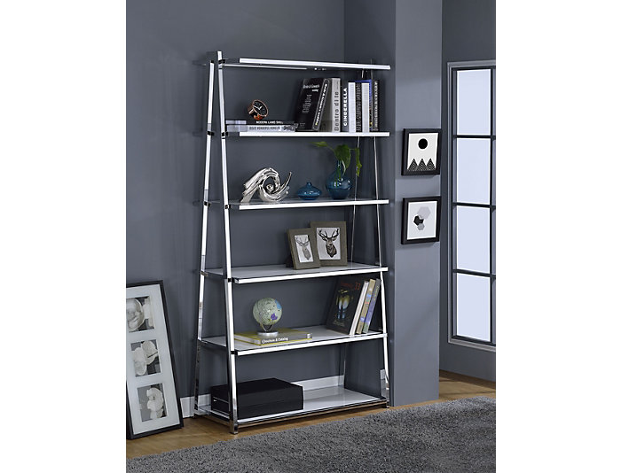 Coleen White Leaning Bookcase, , large