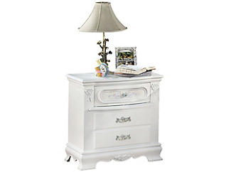 Flora White Nightstand, , large