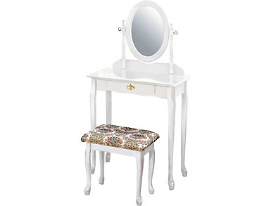 Queen Anne White Vanity Set, , large
