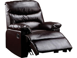Monza Brown Leather Recliner, Brown, , large