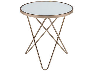 Valora Frosted Glass End Table, Gold, , large