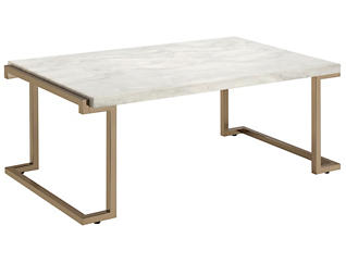 Boice Faux Marble Coffee Table, Gold, , large