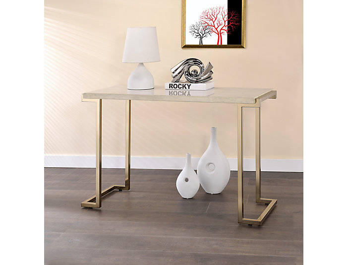 Boice Faux Marble Sofa Table, Gold, , large
