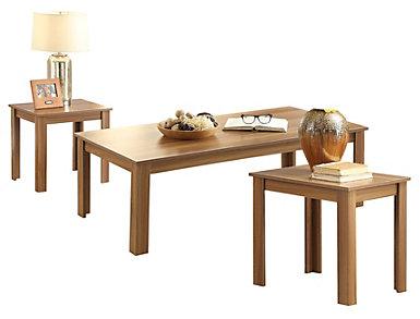 Malena Oak 3 Piece Table Set, , large