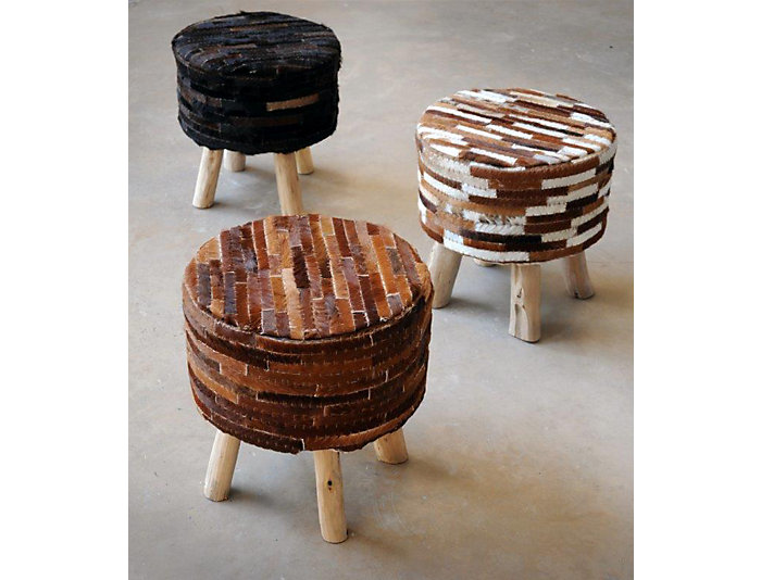Diego Brown Hide Leather Stool, , large