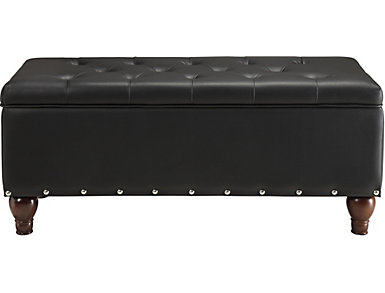 Alda Black Storage Bench, Black, large