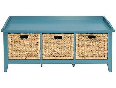 Flavius Teal Storage Bench, , large