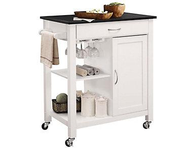 Ottawa White Kitchen Cart, , large