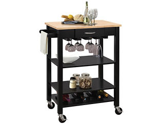 Ottawa Black Kitchen Cart, , large