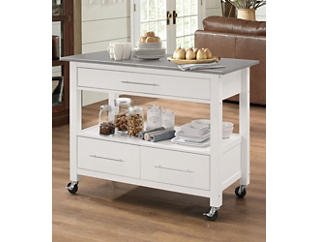 Ottawa White Kitchen Island, , large