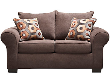Felix Loveseat, Chocolate, Brown, large