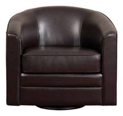 Milo II Swivel Accent Chair, Black, Brown, swatch