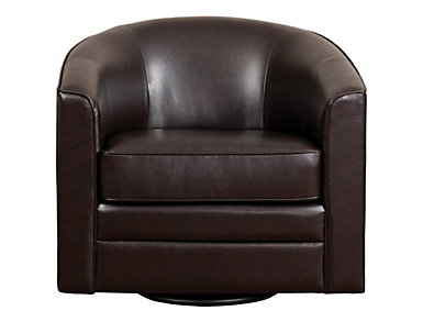 Milo II Swivel Accent Chair, Brown, Brown, large