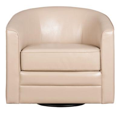 Milo II Swivel Accent Chair, Black, Cream, swatch