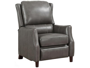 Decatur Leather Recliner, Grey, , large