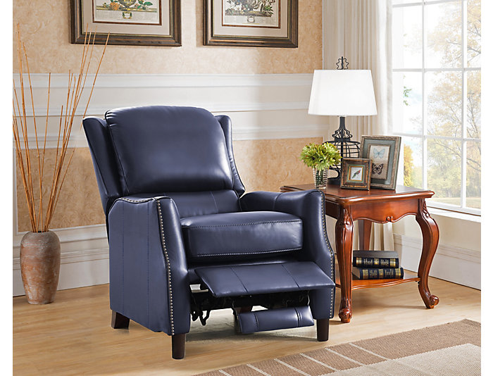 Decatur Leather Recliner, Blue, , large