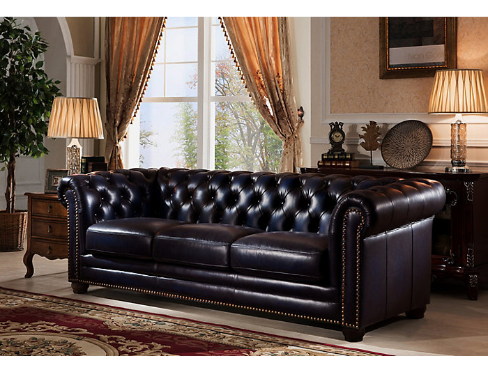 Dynasty Navy Blue Leather Sofa | Art Van Home