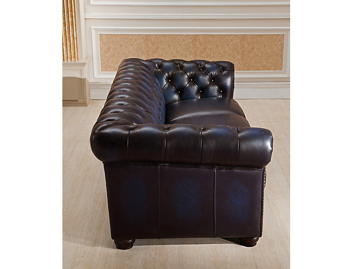 Dynasty Navy Blue Leather Sofa | Art Van Home