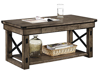 Reese Rustic Gray Coffee Table, , large