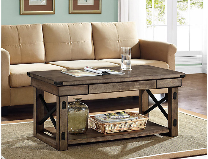 Reese Rustic Gray Coffee Table Large