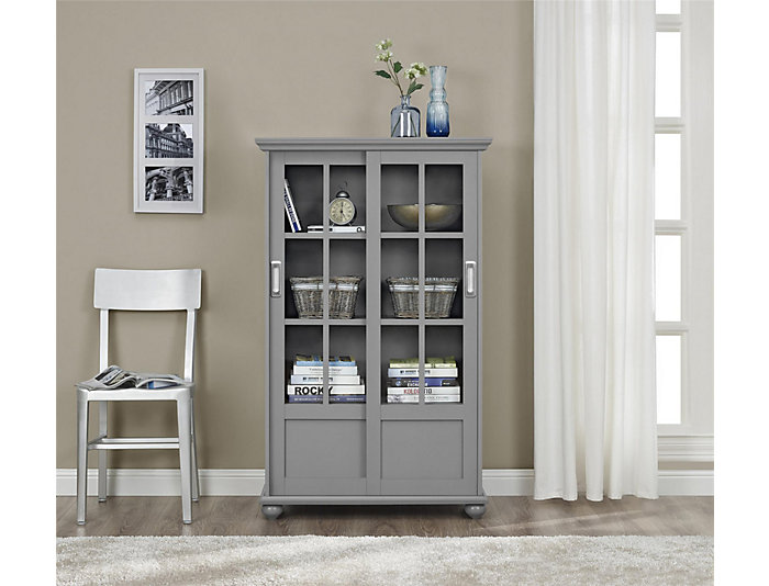 """Aaron Lane 51"""" Grey Bookcase, , large"""