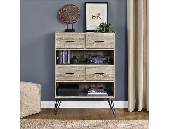 """Landon 44"""" Grey Oak Bookcase, , large"""