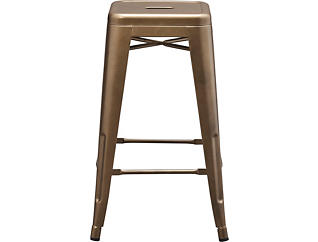 Tessa Metal Grey Couner Stool, Gold, large