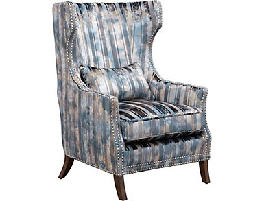 Lorraine-II Peyton Striped Wing Chair with Nail Head Trim, Blue, , large