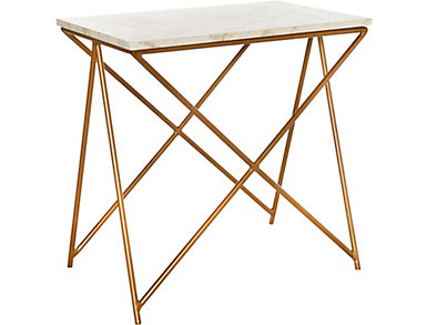 Metal Side Table / Marble Top, , large