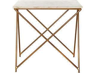Metal Marble Top Side Table, , large