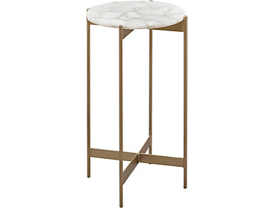 Side Table with White Agate Top, , large