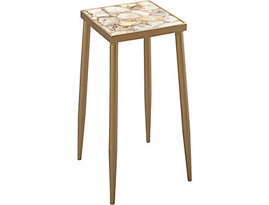 Gold Side Table with Multi Agate Top, , large