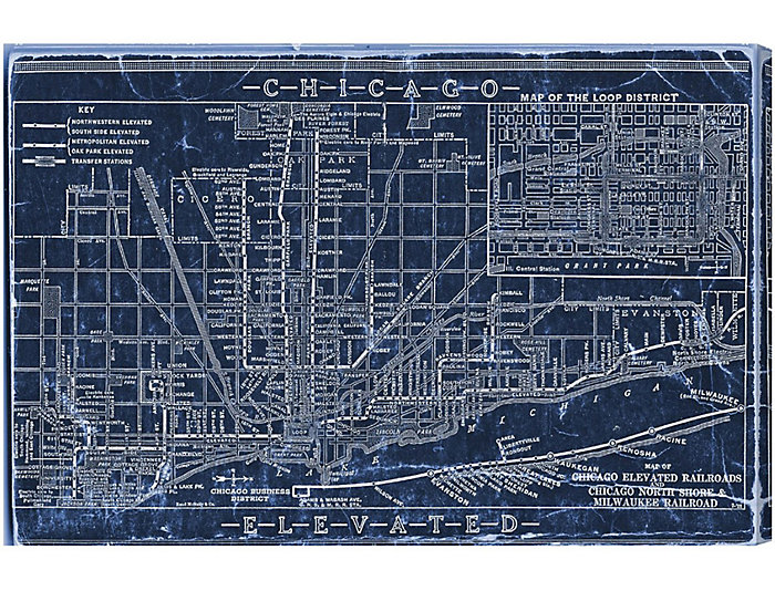 Chicago blueprint canvas art malvernweather Image collections