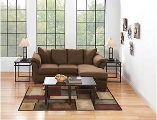 COLORS Sofa Chaise, Chocolate, large