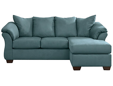 COLORS Sofa Chaise, Stone, Sky Blue, large