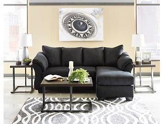 COLORS Black Sofa Chaise, Black, large