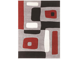 5x7 Geo Red Area Rug, , large
