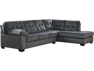 Afton Granite 2 Piece Sectional with Right-Arm Facing Chaise, Cocktail Ottoman & Rocker Recliner Set, , large
