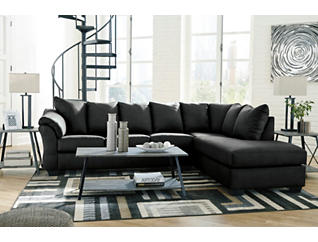 COLORS Black 2 Piece Sectional with Right Arm Facing Chaise, , large