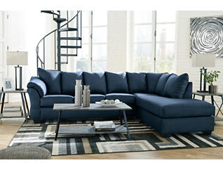 COLORS Blue 2-Piece Sectional with Right-Arm Facing Chaise, , large