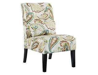 Ashley Furniture Annora Armless Accent Chair, White, Brown   Paisley, , large