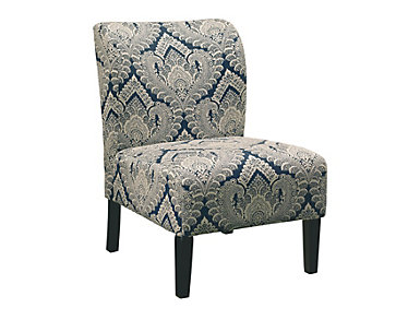 Honnally Armless Chair, Blue and Brown, Blue, large