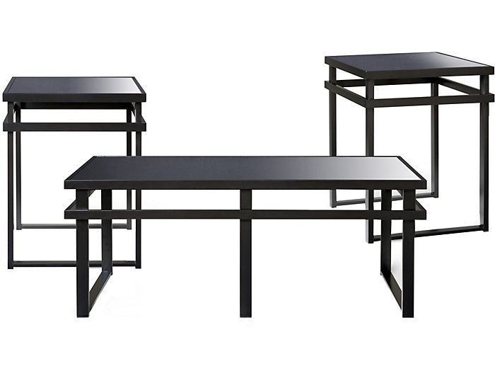 Laney 3 Pack Occasional Tables, Black, , large