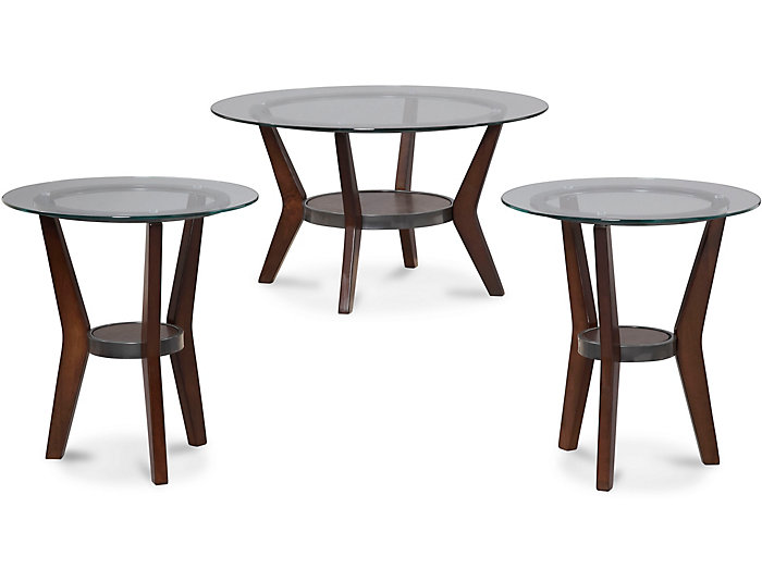 Fantell Dark Brown 3 Pack Occasional Tables, , large